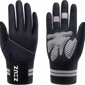 ZEUZ® Sport & Fitness Handschoenen Heren & Dames - Krachttraining - Crossfit Gloves - Volledige Bescherming Vingers - Grijs & Zwart - Maat M
